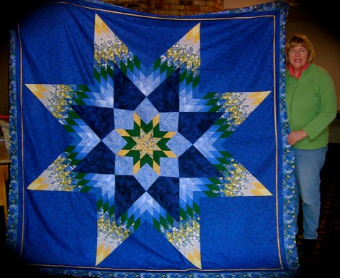 Elaine Purvey blue star quilt